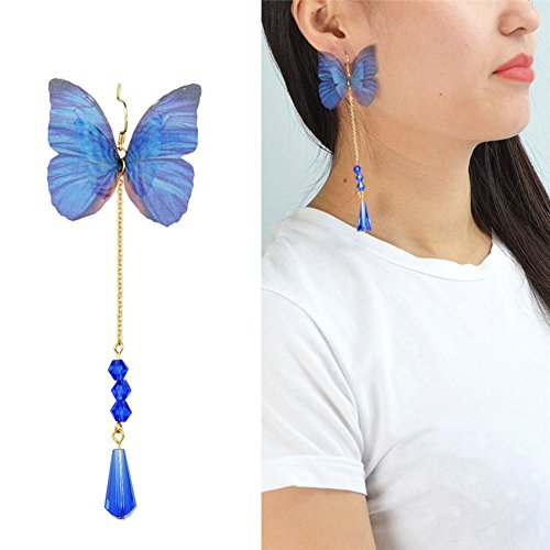 paweena Women's Chic Blue Rhinestone Dangle Ear Stud Butterfly Earrings Crystal (Tiffany Butterfly Earrings)