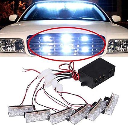 Vehicle Strobe Lights >> Amazon Com 6 3 White White Led Emergency Grille Vehicle