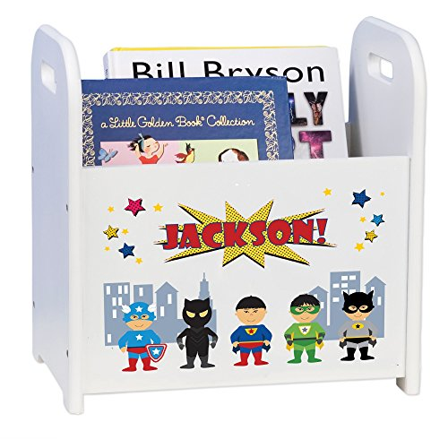 MyBambino Personalized Superhero Asian Book Caddy and Rack
