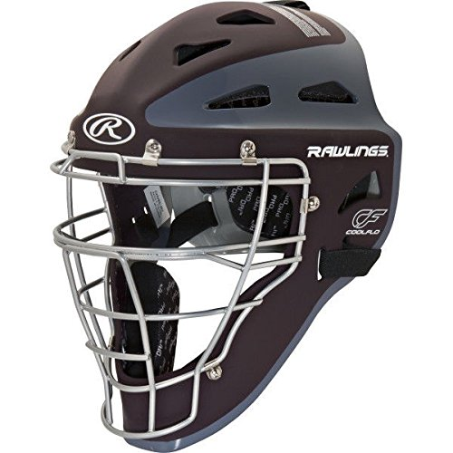 Rawlings Velo Adult Catchers Helmet - Maroon/grey- Adult 7 1/8 - 7 3/4 (Professional Hockey Style Catchers Helmet)