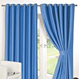 Dreamscene Ring Top Fully Lined Pair Thermal Blackout Eyelet Curtain Duck Egg 66 x 54 by Dreamscene
