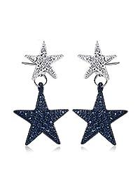 Daesar Gold Plated Earrings for Women Two-Tone Star Stud Earrings Cubic Zirconia Blue Earrings Jewelry