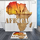 ALAZA Shower Curtain Set Africa Animal Map Wooden Plank Polyester Fabric Bathroom Curtain Suit with Mat Rug 12 Hooks