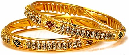 2.4 Bindhani Wedding Gold Plated Bridal Bollywood Rhinestone Indian Bracelets Bangle Jewelry For Girls