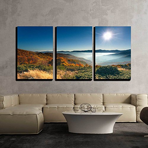 wall26 - 3 Piece Canvas Wall Art - Autumn, Misty, Mountain Landscape with a View on Colorful Forest Towards the Rising Sun - Modern Home Decor Stretched and Framed Ready to Hang - 24