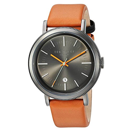 Ted Baker Round Dial (Ted Baker Men's 'CONNOR' Quartz Stainless Steel and Leather Dress Watch, Color:Brown (Model: 10031504))