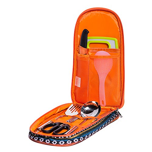 Camp Kitchen Utensil Organizer Travel Set by Monblan – Portable BBQ Camping Cookware -Cutting Board|Rice Paddle|Tongs|Scissors|Knife and Bottle Opener by Monblan