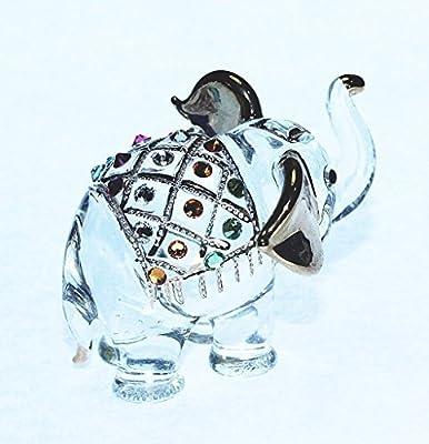 Elephant Figure Dollhouse Miniatures Animals Swarovski Crystal Collectible Figurine by ChangThai Design