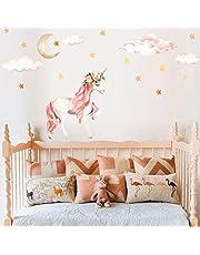 AIYANG Eenhoorn Muursticker, regenboogkleuren, wandtattoo, afneembare muursticker voor meisjes, baby's, kinderen, slaapkamer, speelkamer, decoratie (roze)