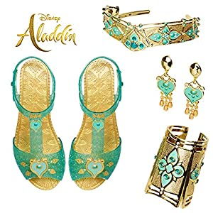 Aladdin Disney Jasmine Deluxe Royal Accessory Set, Includes: Shoes, Earrings, Cuff & Headdress