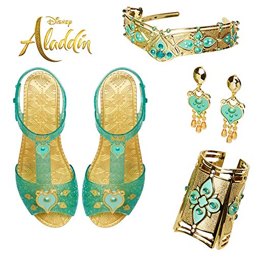 Aladdin Disney Jasmine Deluxe Royal Accessory Set, Includes: Shoes, Earrings, Cuff & Headdress ()