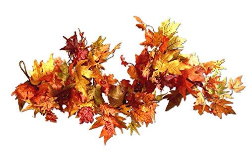 CraftMore Premium Fall Maple Leaf Garland 6 Feet