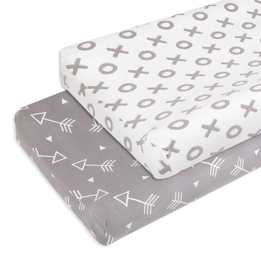 BORITAR Changing Pad Covers Soft Stretchy Jersey Knit 2 Pack, Semi-Waterproof Chang Table Covers for Boys with Grey Arrow and Circle Printed by BORITAR