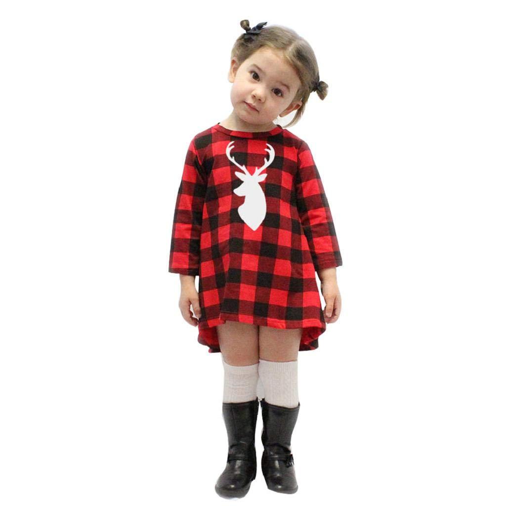 Toddler Infant Girls Princess Dresses Plaid Deer Princess Dress Tops Christmas Kids Outfits Clothes