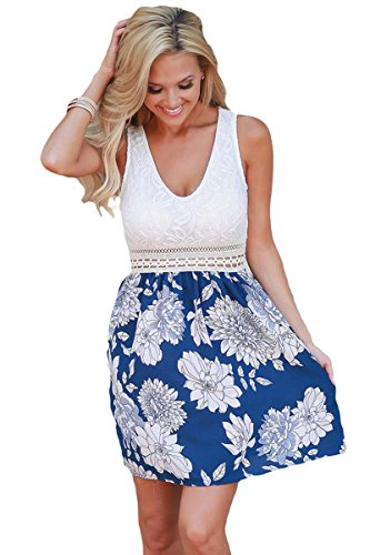 Women Sexy V-Neck Lace Tank Floral Print Sleeveless A-line Skater Dress Midi Dress Summer Casual Sun Dress (Print Sundress V-neck)