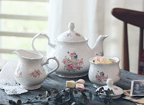 Jusalpha Fine china vintage rose teapot and creamer set (Teapot and creamer set) by Jusalpha (Image #1)