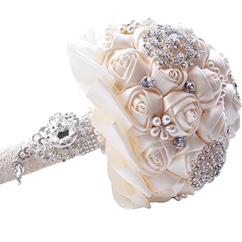 Wedding Bouquets for Bride, Amoleya 7.8 Inch Handmade Bridal Bouquet Bridesmaid Bouquet of Satin Flower Roses with Bling Rhinestones(Ivory) ()