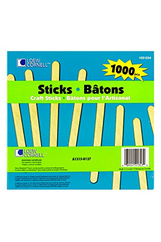 (Woodsies Natural Craft Stick Pack, 3/8 x 4-1/2 inches, Pack of 1000)