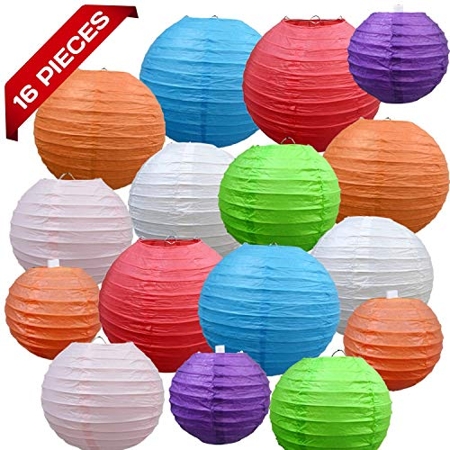 "(Multicolor Decorative Party Paper Lanterns - 16-Pack - Hanging Paper Lantern Decorations 4"", 6"", 8"", 10"" Set - Outdoor, Indoor Party Paper Lanterns Kit - Easy-to-Assemble & Hang - Perfect Décor Gift)"