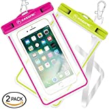 Waterproof case, Kasonic Universal Waterproof Bag Pouch, Clear Sensitive Touch Screen, for iPhone 7/6/6S Plus/5/5s/5c Galaxy S7/S7 Edge/S6/S5/S4 Note 4/3 LG G5/G3 (Green & Pink)