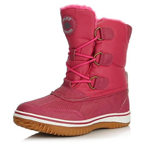 DailyShoes Women's Lace Up Ankle High Mid Calf Artic Warm Fur Water Resistant Eskimo Snow Boots, 7 Hot Pink ()