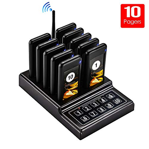 Restaurant Pager System, Portable Wireless Call Paging Queuing System with 10pcs Coaster Pager+1pc Call Button Keypad Transmitter Wireless Guest Calling System for Food Truck Clinic Church Cafe Shop