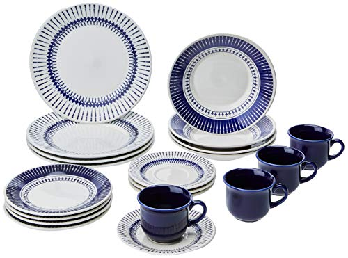 - Oxford 20 Piece Biona Colb Dinnerware Place Setting, White  - 7891361942008
