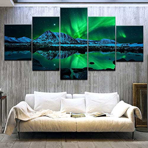 kkxdp Framed Wall Art Canvas Prints Poster Home Decor 5 Pieces Green Aurora Borealis Lake Hill Night Paintings Living Room Pictures -