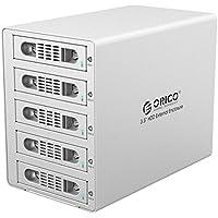 ORICO Aluminum 5 Bay 3.5 inch Hard Disk Drive Case HDD RAID Enclosure ,USB 3.0 & eSATA Support UASP and SATA III 6.0Gbps Speed (3559RUS3)