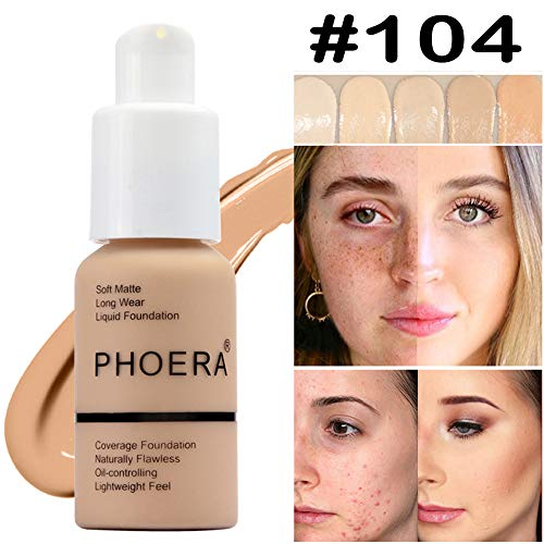 Matte Oil Control Concealer Foundation Cream,PHOERA New 30ml Long Lasting Waterproof Matte Liquid Foundation (104 Buff Beige)