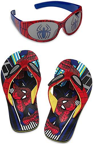 Disney Store Spider-Man Flip Flop Sandals and Sunglasses Set, Size 2-3 Little Kid