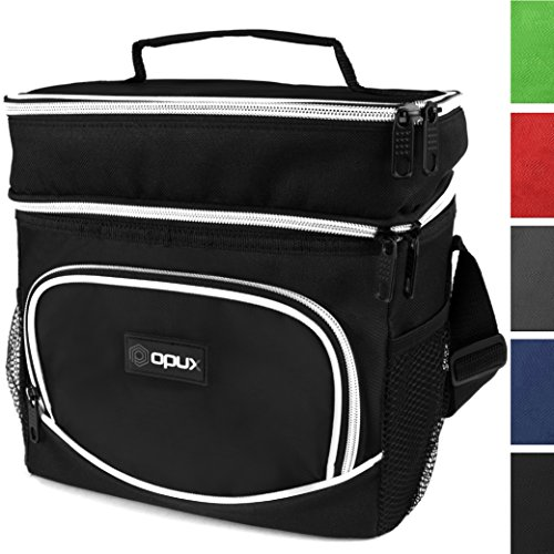 OPUX Insulated Dual Compartment Lunch Bag for Men, Women | Double Deck Reusable Lunch Tote Cooler Bag with Shoulder Strap, Soft Leakproof Liner | Medium Lunch Box for Work, Office (Black) ()