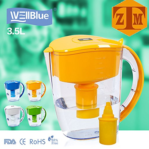 ALKALINE pH ionized Water PITCHER, 3.5 L By Well Blue, 1 Filter, 2 Month ()