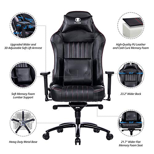 KILLABEE Big and Tall 400lb Memory Foam Gaming Chair - Adjustable Tilt, Back Angle and 3D Arms Ergonomic High-Back Leather Racing Executive Computer Desk Office Chair Metal Base, Black by KILLABEE (Image #3)