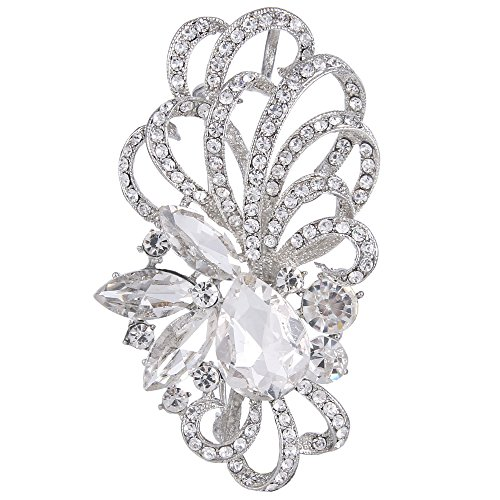 EVER FAITH Silver-Tone Austrian Crystal Bridal Flower Ribbon Teardrop Brooch Pendant Clear