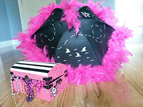 (Pirate Princess Girl Party Pack Decorations Centerpiece with Parasol and Painted, Personalized Treasure Chest)