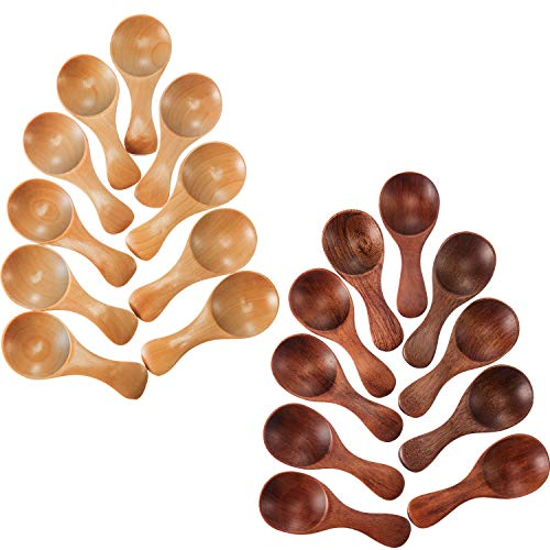 Leinuosen 20 Pieces Small Wooden Spoons Mini Condiments Sugar Seasoning Salt Honey Teaspoon Coffee Tea Jam Mustard Ice Cream Wood Spoons]()