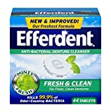 Efferdent Plus Mint Anti-Bacterial Denture Cleanser | 44 Tablets | Actively Cleans Between Dentures | Packaging May Vary