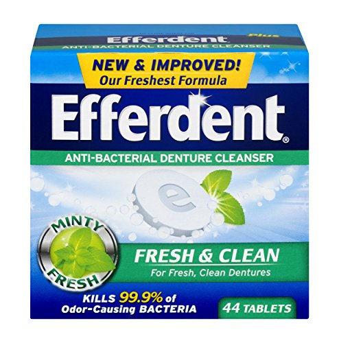 (Efferdent Plus Mint Anti-Bacterial Denture Cleanser | 44 Tablets | Actively Cleans Between Dentures | Packaging May)
