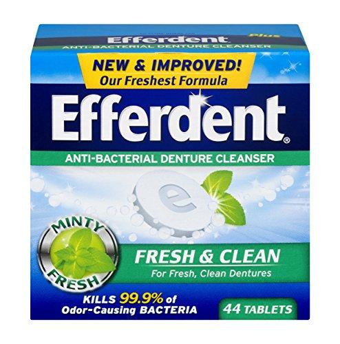Efferdent Tablets Denture Plus Cleanser (Efferdent Plus Mint Anti-Bacterial Denture Cleanser | 44 tablets | Actively Cleans Between Dentures | Packaging May Vary)