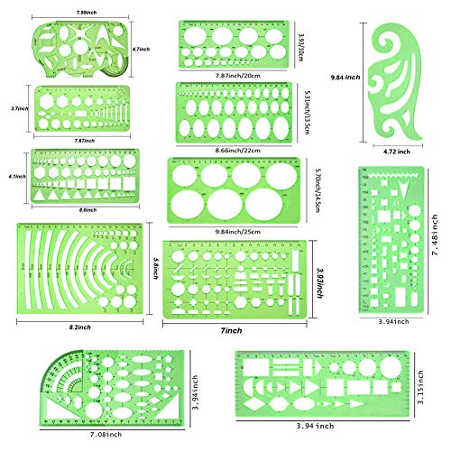 Qincling 11 Pieces Geometric Drawings Templates Stencils Plastic Measuring Template Rulers Clear Green Shape Template for Drawing Engineering Drafting Building School Office Supplies by Qincling (Image #2)