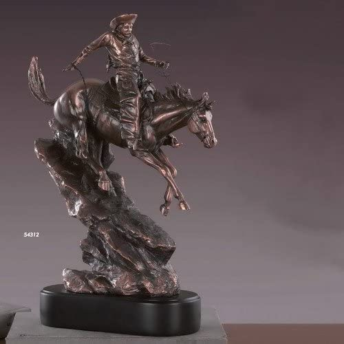 Bronze Electroplated Resin Western Cowboy Statue Sculpture 11.5 inches W x 17 inches Tall