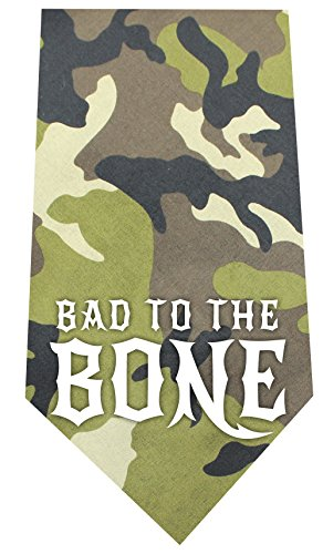- Mirage Pet Products Bad to The Bone Screen Print Bandana Green Camo, One Size