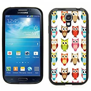 Samsung Galaxy S4 SIIII Black Rubber Silicone Case - Owl Scrapbook design print, who, hoo