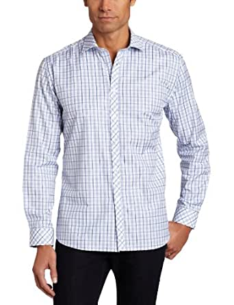 Stone Rose Men's Spread Collar Button Down Woven Dress Shirt, Blue And White Plaid,2/Small