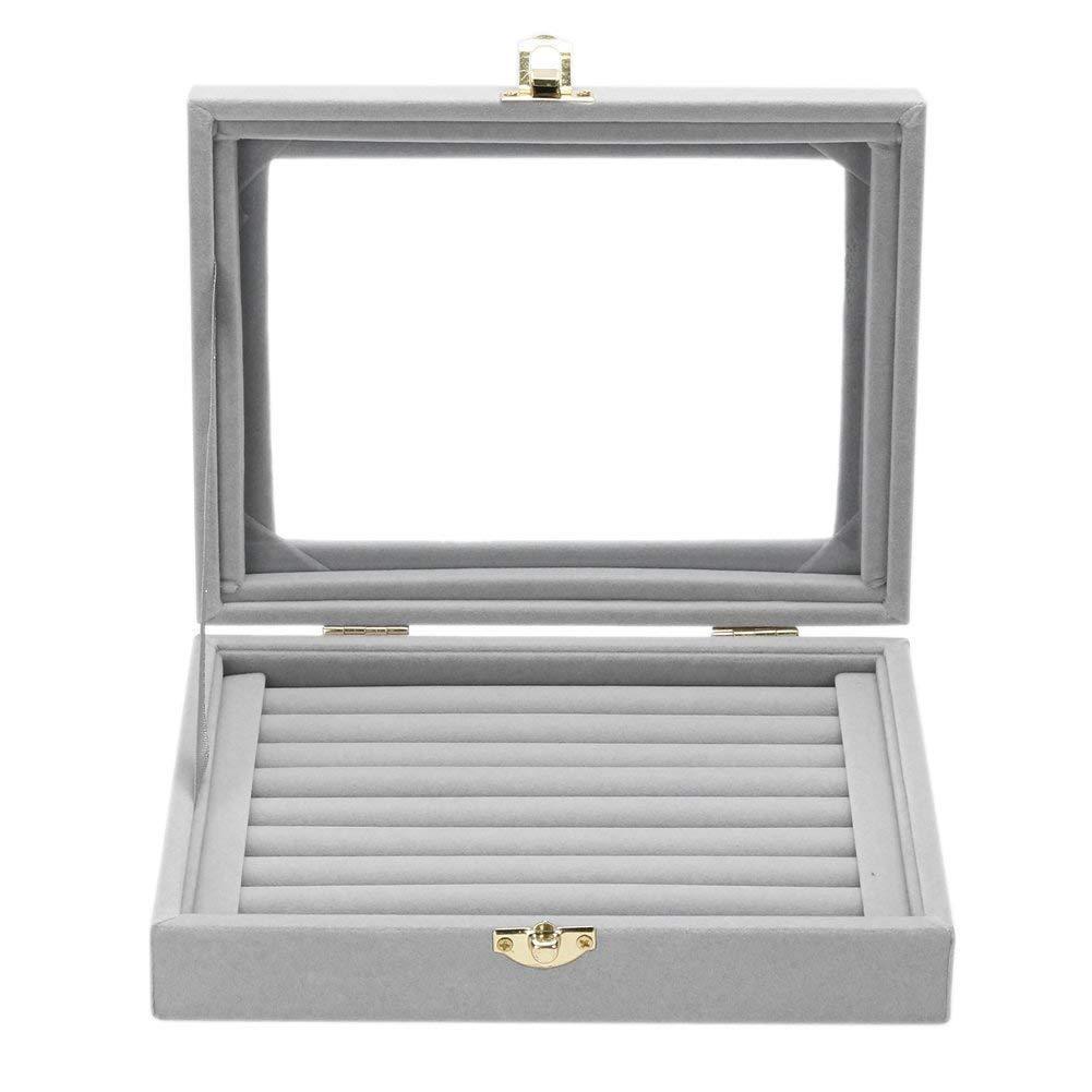 LOVEER Velvet Glass Jewelry Display Case, Portable Earring Ring Tray Holder Storage Organizer Box (Gray)