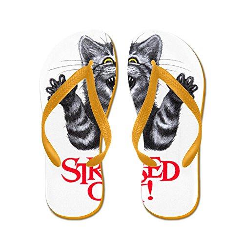Royal Lion Kid's Stressed Out Cat Orange Rubber Flip Flops Sandals 4.5-7