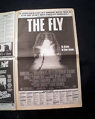 Best THE FLY Film Movie Opening Day Poster Size AD 1986 Los Angeles CA Newspaper LOS ANGELES TIMES, August 15, 1986