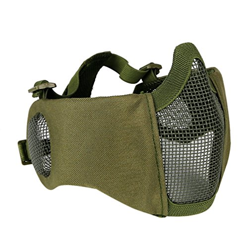 Half Face Mask Lower Steel Mesh Mask with Ear Guard Protection For Airsoft Paintball BBs Shooting - Steel Face Guards