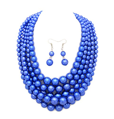 Women's Simulated Faux Pearl Five Multi-Strand Statement Necklace and Earrings Set (Dark Corm Flower (Dark Pearl)